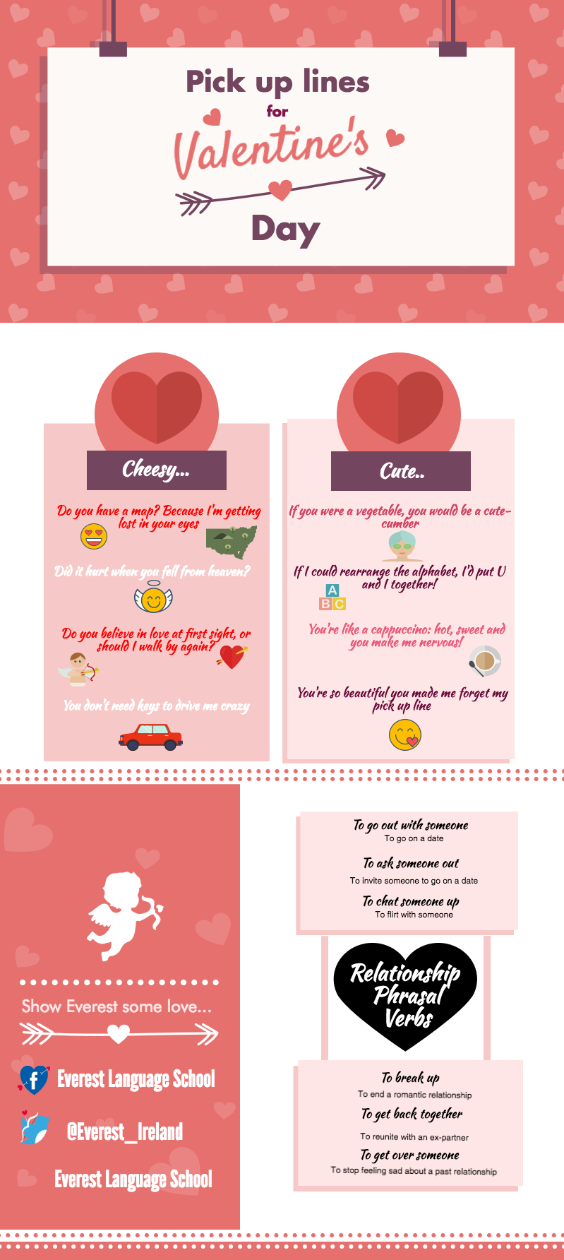 valentines day idioms phrasal verbs and pick up lines