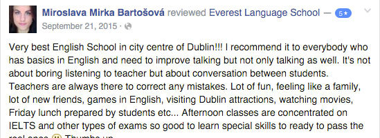 STUDENT REVIEW ENGLISH COURSE