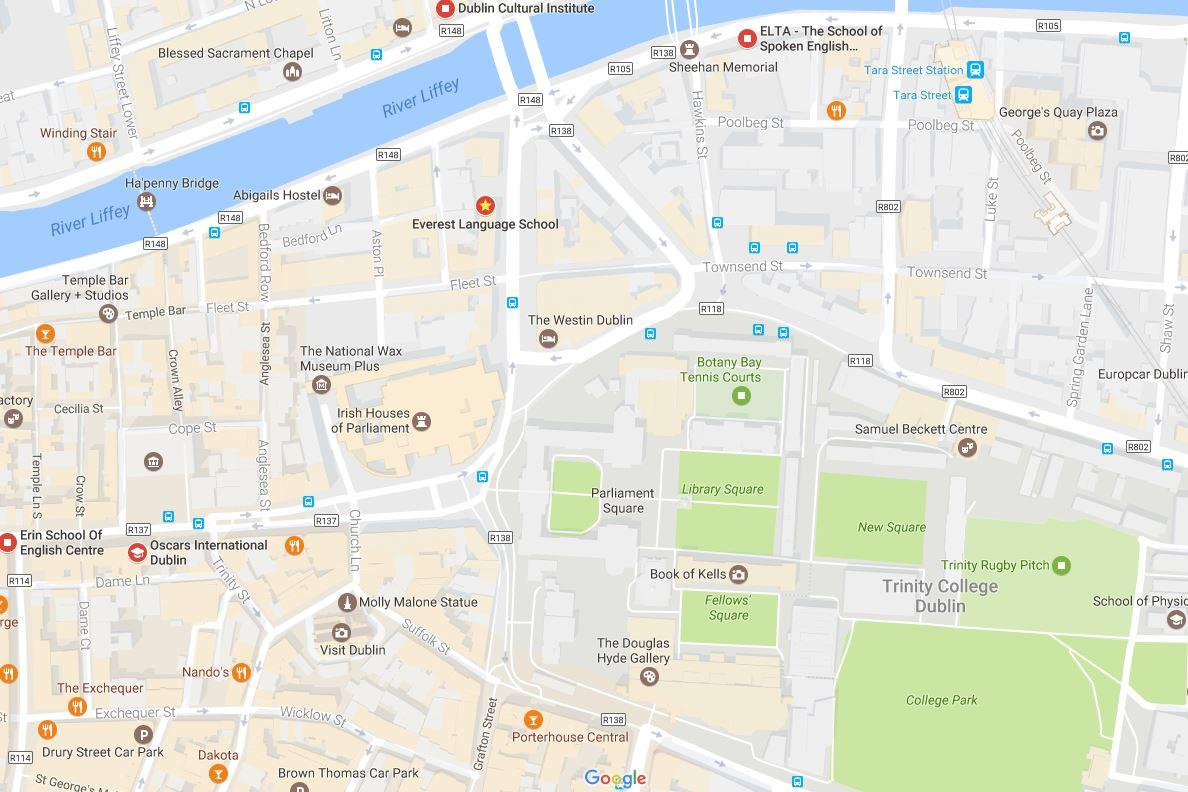 English schools in Dublin city centre - Map